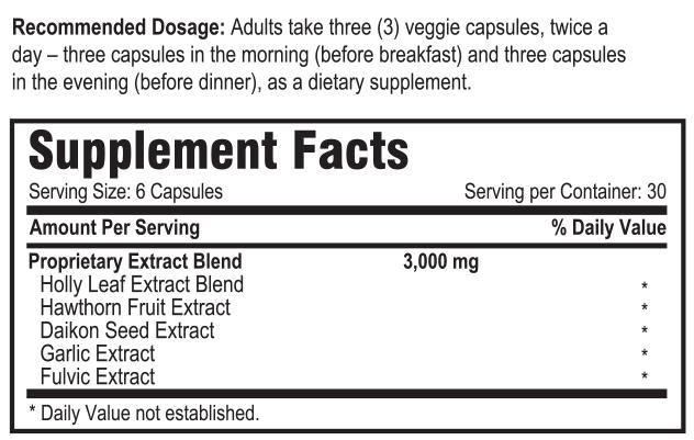 Alistrol Blood Pressure Support Supplement Fact