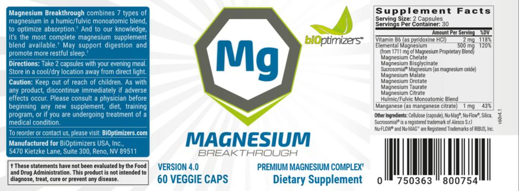 Magnesium Breakthrough supplement fact