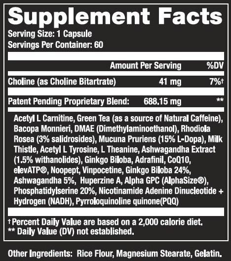 Body Brain Energy Supplement Facts
